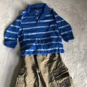 Set boys 1 pair pants & 1 long sleeve top size 24M